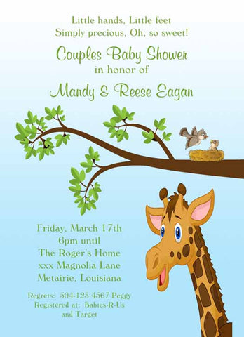 GIRAFFE IN THE TREES CUSTOM INVITATION