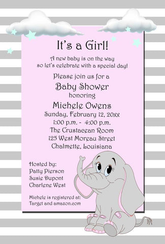 SWEET ELEPHANT WITH CLOUDS CUSTOM INVITATION