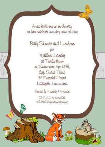 WOODLAND FOREST ANIMALS CUSTOM INVITATION