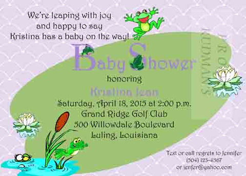 FROGS ON A LILY PAD CUSTOM INVITATION