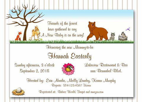 FOREST ANIMALS CUSTOM INVITATION
