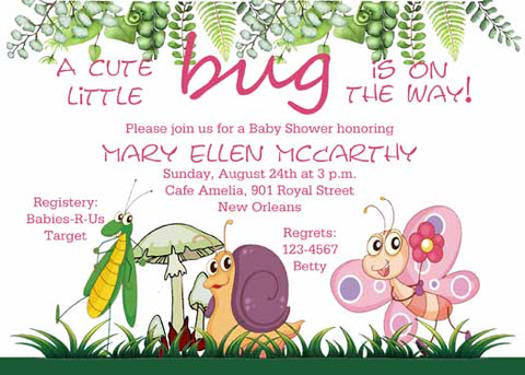 CUTE INSECTS CUSTOM INVITATION