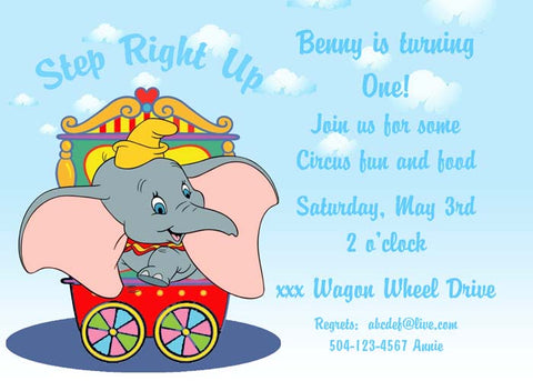 DUMBO CIRCUS TRAIN CUSTOM INVITATION