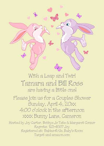 LEAPING BUNNIES CUSTOM INVITATION