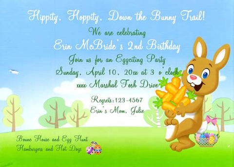 BUNNY CARRYING CARROTS CUSTOM INVITATION