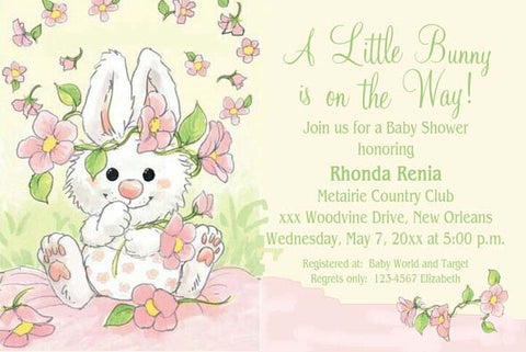 BUNNY IN FLOWERS CUSTOM INVITATION