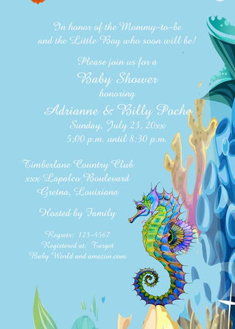 SEAHORSE UNDER THE SEA CUSTOM INVITATION