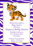 BABY TIGER AND TIGER PRINT CUSTOM INVITATION