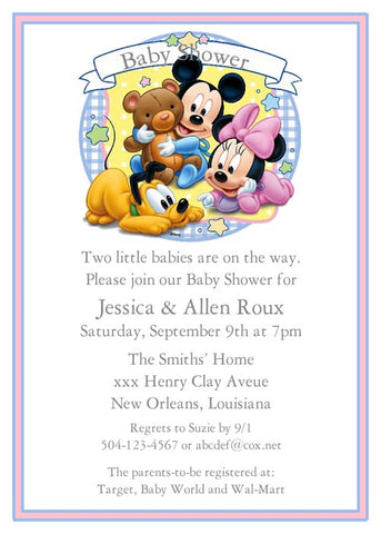 BABIES MICKEY AND MINNIE CUSTOM INVITATION