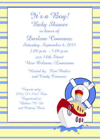 TUGBOAT CUSTOM INVITATION
