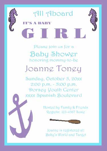 SEAHORSE AND ANCHOR CUSTOM INVITATION