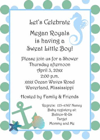 SEAHORSE AND DOTS CUSTOM INVITATION