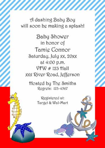 ANCHOR AND SEA LIFE CUSTOM INVITATION