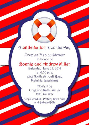 BOUY WITH RED WHITE BLUE STRIPES CUSTOM INVITATION