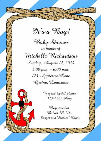 ANCHOR AWAY CUSTOM INVITATION