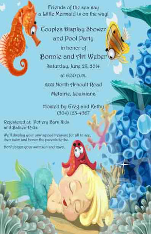 BABY MERMAID CUSTOM INVITATION