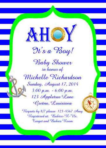 AHOY STRIPES CUSTOM INVITATION