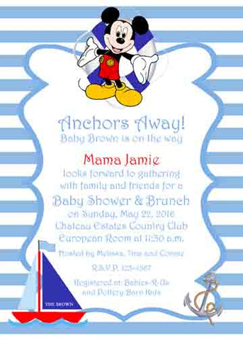 MICKEY SETTING SAIL CUSTOM INVITATION