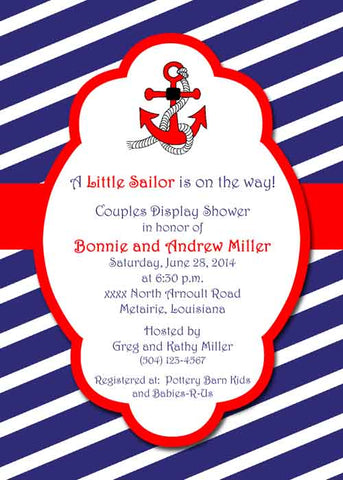 RED ANCHOR BLUE AND WHITE STRIPES CUSTOM INVITATION