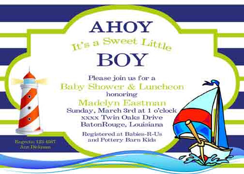 SAILBOAT BOLD STRIPES CUSTOM INVITATION