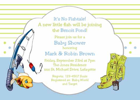 FISHING BOY AND GIRL CUSTOM INVITATION