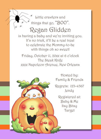 BABY GHOST AND PUMPKINS CUSTOM INVITATION