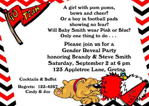 BABY BULLDOG AND FOOTBALL ITEMS CUSTOM INVITATION