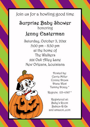 DALMATIAN AND PUMPKIN CUSTOM INVITATION
