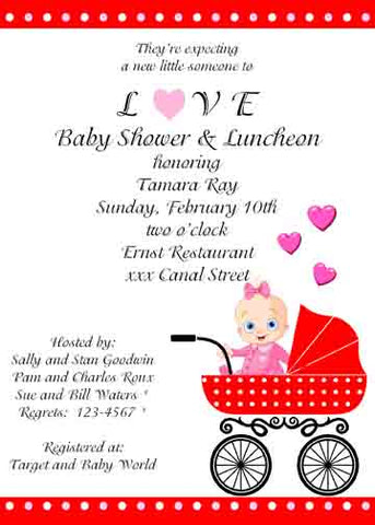 VALENTINE BUGGY CUSTOM INVITATION