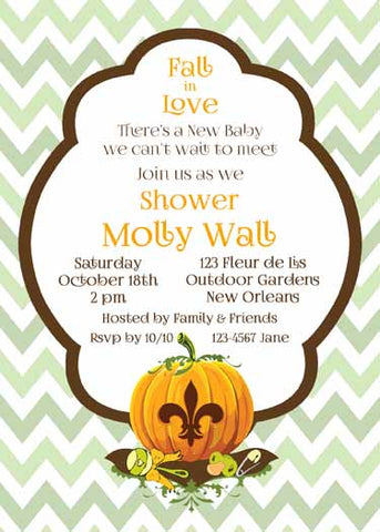CHEVRON FLEUR DE LIS PUMPKIN CUSTOM INVITATION