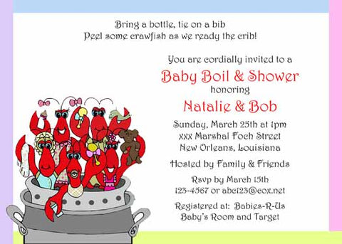 CRAWFISH BABY SHOWER CUSTOM INVITATION