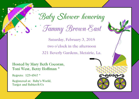 MARDI GRAS BABY BUGGY CUSTOM INVITATION