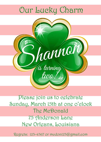 LUCKY CHARM CLOVER CUSTOM INVITATION