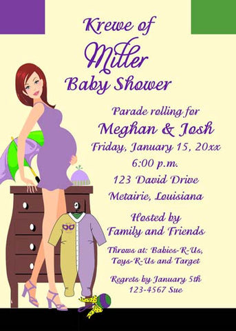 MARDI GRAS MOMMY-TO-BE CUSTOM INVITATION