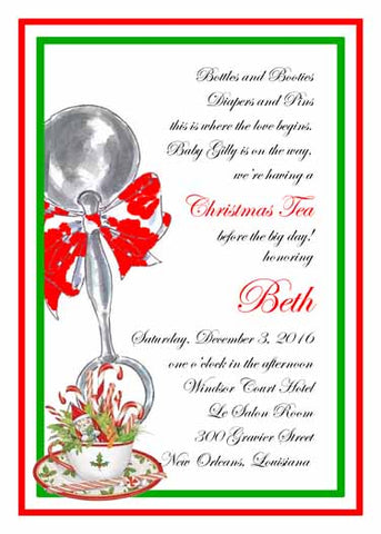 BABY RATTLE AND CHRISTMAS TEA CUSTOM INVITATION
