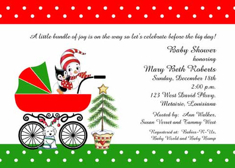 BABY SNOWMAN, BUGGY AND CHRISTMAS TREE CUSTOM INVITATION