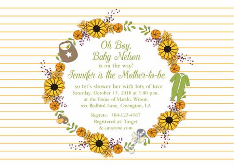 FALL WREATH OF LEAVES AND BABY ITEMS CUSTOM INVITATION