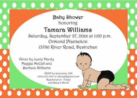 AFRO-AMERICAN CRAWLING BABY BOY CUSTOM INVITATION