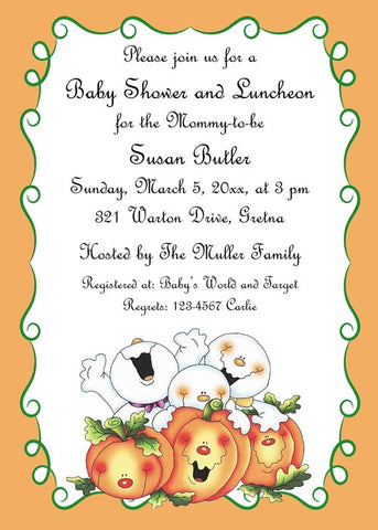 MULTIPLE BABY GHOSTS AND PUMPKINS CUSTOM INVITATION