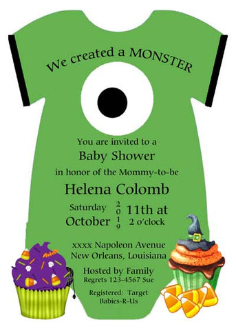 ONESIE MONSTER EYE FACE CUSTOM INVITATION