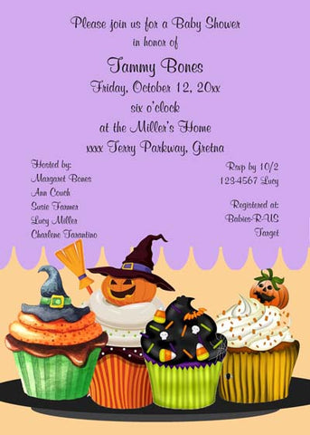 HALLOWEEN CUPCAKES CUSTOM INVITATION