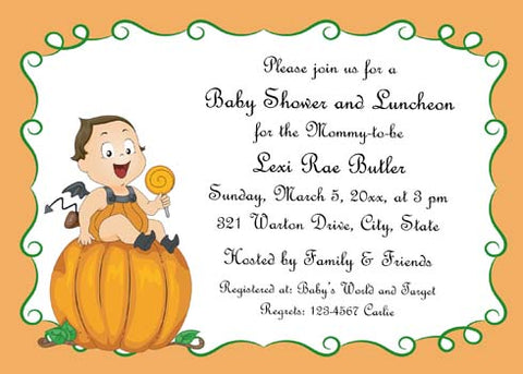 BABY IN COSTUME ON PUMPKIN CUSTOM INVITATION