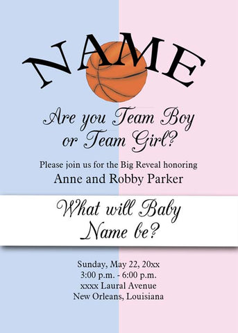 GENDER REVEAL PINK AND BLUE SPORTS BALLS CUSTOM INVITATION