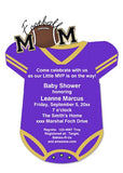 PURPLE AND GOLD FOOTBALL ONESIE CUSTOM INVITATION