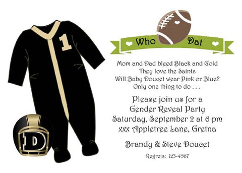 BLACK AND GOLD FOOTBALL SLEEPER CUSTOM INVITATION