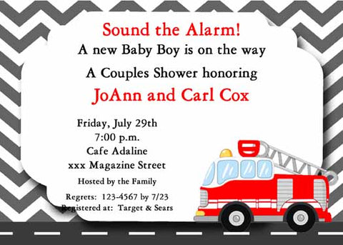 FIRETRUCK CUSTOM INVITATION