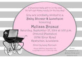 BLACK STROLLER, PRAM OR BABY CARRIAGE CUSTOM INVITATION