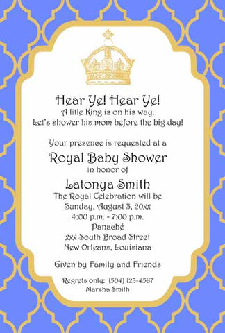 ROYAL CROWN BABY CUSTOM INVITATION