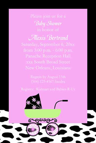 COW PATTERN AND BABY CARRIAGE CUSTOM INVITATION