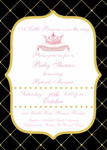 PRINCESS CROWN ON PILLOW CUSTOM INVITATION